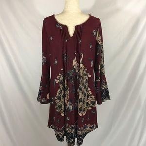 Reborn Tunic Dress with Peacock print